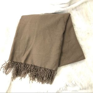 Other - Taupe Cashmere and Wool Blanket Throw NWOT